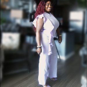 🔥 Lavender Pant Ruffle Jumpsuit Sz XL